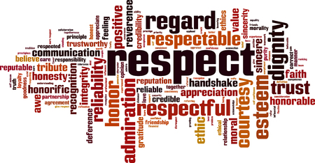 Respect word cloud concept illustration Vectores