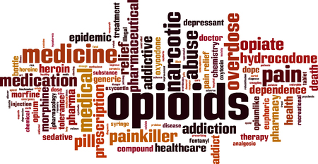 Opioids word cloud concept. Vector illustration