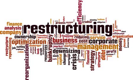 Herstructurering woord cloud concept. Vector illustratie