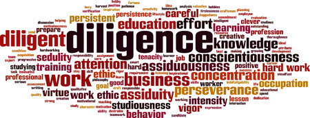 Diligence word cloud concept. Vector illustration