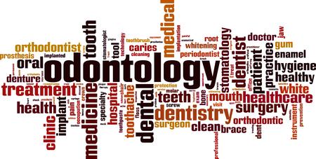 Odontology word cloud concept. Vector illustration
