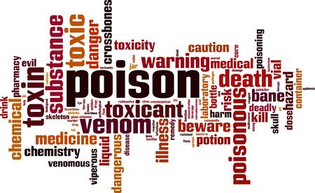 sobredosis: Concepto de nube de palabras venenosas. Ilustración vectorial