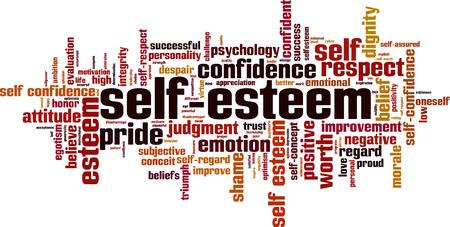 Concetto di parola cloud di autostima