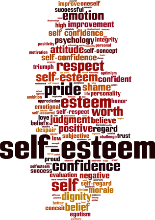 Self-esteem word cloud concept. Vector illustration Vetores