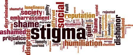 Concetto di nuvola di parola di Stigma. Illustrazione vettoriale