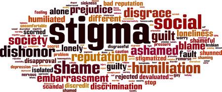 El estigma concepto de nube de palabras Foto de archivo - 87400469