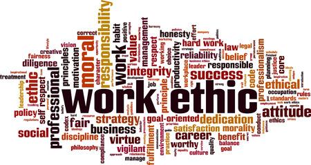 Ética de trabajo concepto de nube de palabras