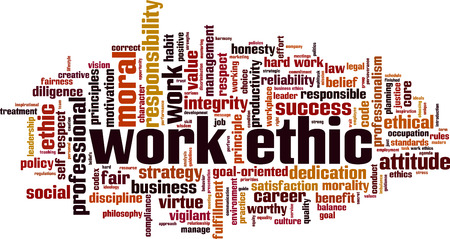 Work ethics word cloud concept Illustration