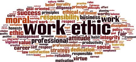 Work ethics word cloud concept Illustration