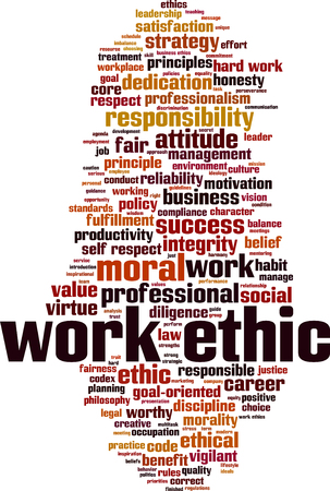 Work ethics word cloud concept. Vector illustration