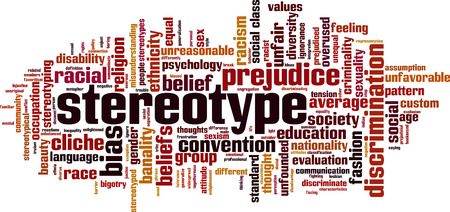 Stereotype word cloud concept. Vector illustration Vectores