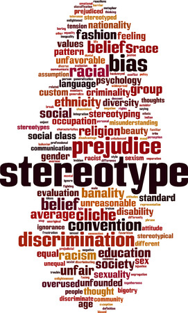 Stereotype word cloud concept. Vector illustration Illustration