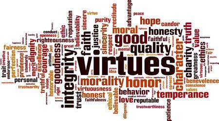 Concepto de nube de palabras Virtudes. Ilustración vectorial