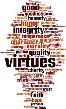 Virtues word cloud concept. Vector illustration