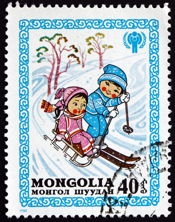 MONGOLIA - CIRCA 1981: a stamp printed in Mongolia shows Winter's Joys, International Year of the Children, circa 1981