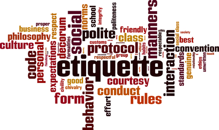 Etiquette word cloud concept. 向量圖像