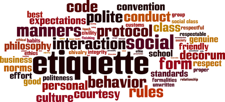 Etiquette word cloud concept. 向量圖像