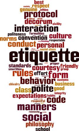 Etiquette word cloud concept. Vectores