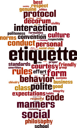 Etiquette word cloud concept. Çizim