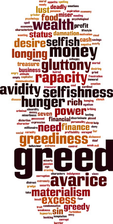 Greed word cloud concept.