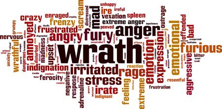 Wrath word cloud concept. Illustration