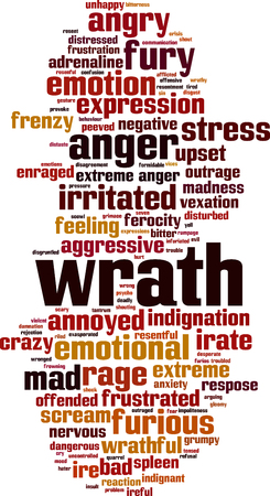 Wrath word cloud concept. Ilustrace