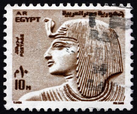 이집트 -1973 년경 : 이집트에서 인쇄하는 스탬프 1973 년경 파라오 Sethos를 보여줍니다 에디토리얼