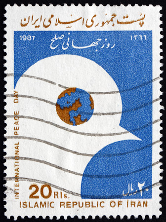 IRAN - CIRCA 1987: a stamp printed in the Iran dedicated to International Peace Day, circa 1987