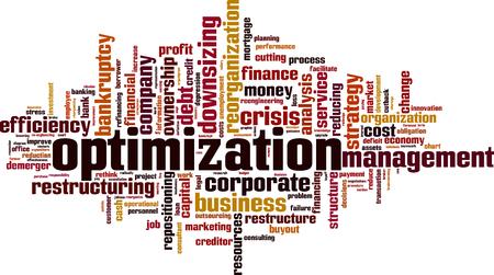 Optimization word cloud concept. Vector illustration Illustration