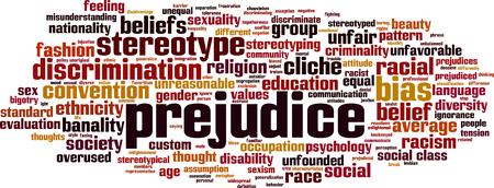 Prejudice word cloud concept. Vector illustration