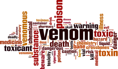 Venom word cloud concept. Vector illustration Illustration