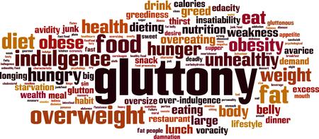 Gluttony word cloud concept. Vector illustration