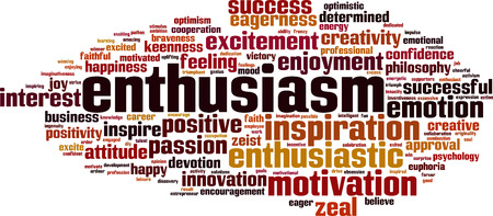 Enthusiasm word cloud concept. Vector illustration