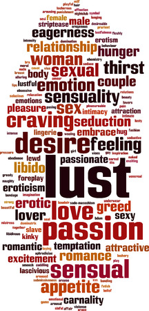 Lust word cloud concept. Vector illustration Illustration