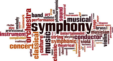 woodwind: Symphony word cloud concept. Vector illustration