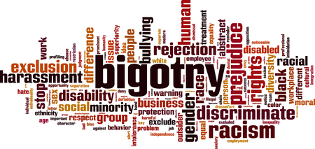 Bigotry word cloud concept, Vector illustration. Illustration