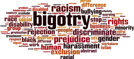 Bigotry word cloud concept, vector illustration.