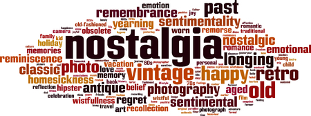 Nostalgia word cloud concept illustration. Illusztráció