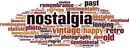 Nostalgia word cloud concept illustration. Ilustrace