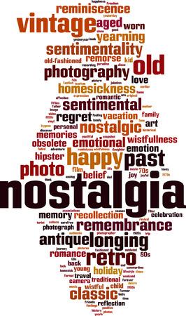 Nostalgia word cloud concept.