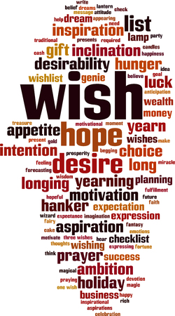 Wish word cloud concept.
