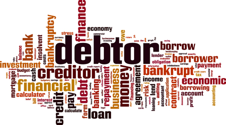 Debtor word cloud concept