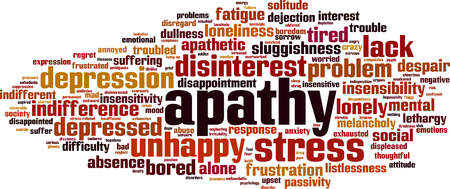 Apathy word cloud concept. Vector illustration