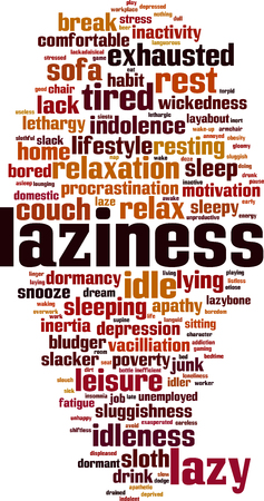 Laziness word cloud concept. Vector illustration