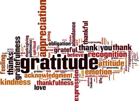 Concepto de nube de word de gratitud. Ilustración vectorial