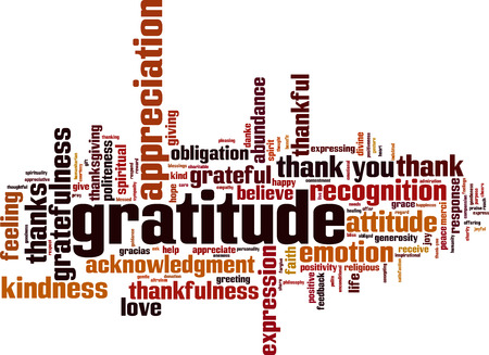 Gratitude word cloud concept. Vector illustration Ilustrace
