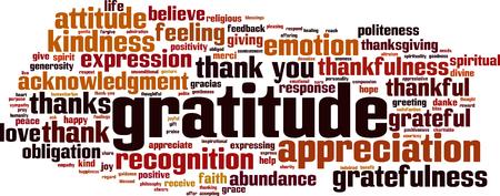 Concepto de nube de palabras de gratitud. Ilustración vectorial