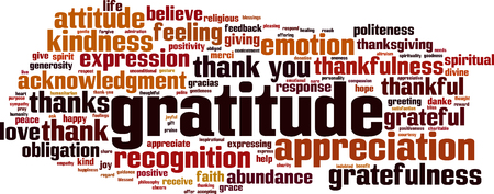 Gratitude word cloud concept. Vector illustration Ilustração
