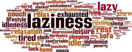 Laziness word cloud concept. Stock Vector - 88581657
