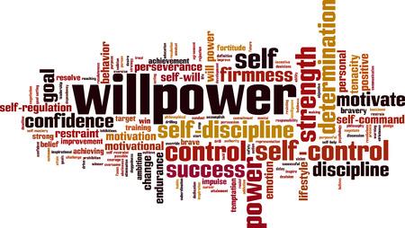 Willpower word cloud concept. Vector illustration
